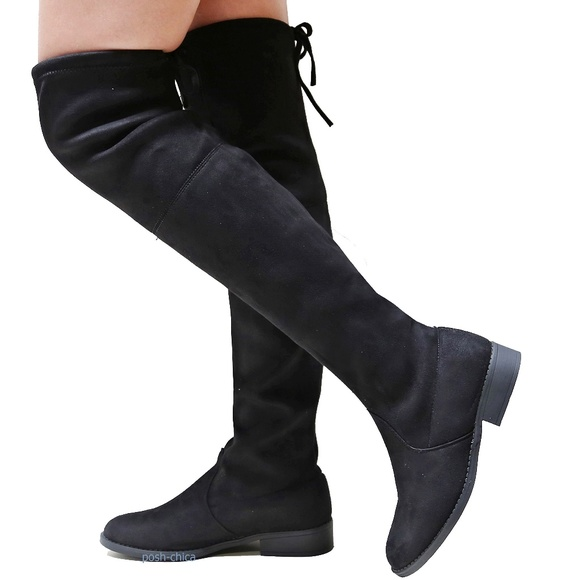 c3570978b2 Shoes | New Black Suede Drawstring Over The Knee Boots | Poshmark